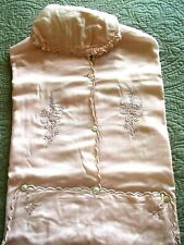 1920's (Silk?) Baby Bunting antique baby clothes pink embroidered Very Rare