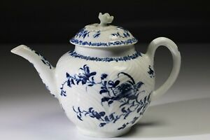 Early Rare Worcester Feather Moulded Floral teapot c1765-80