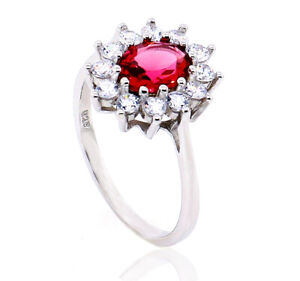 STERLING SILVER CZ RING LADIES OVAL RUBY CUBIC ZIRCONIA HALO CLUSTER DRESS BOX