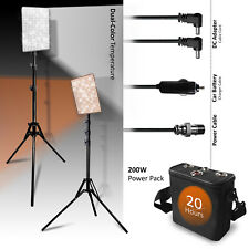 Dual-Color Thin Photo Lighting Light Panel with Studio Tripod & Portable Battery