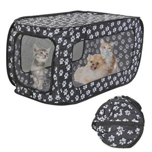 Dog Cat Travel Cage Kennel Double Zipper Door Rectangular Foldable Tent House