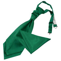 DQT Satin Plain Emerald Green Wedding Pre-Tied Mens Cravat & Hanky Set FREE Pin