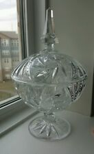 Vintage Cut Crystal Covered Candy Dish Bowl 8 Point Star Whirling Pinwheel