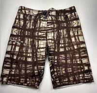 Element Mens Swim Trunks Board Shorts Size 32 Brown Multi Stripe Pocket Unlined