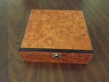 Burl Wood 30 Cigar Humidor - Humidifier - Hygrometer - Free Bonus V Cigar Cutter