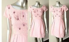 Vintage 50s Silk Beaded Embellished Cocktail Mini Short Pale Pink Party Dress xS