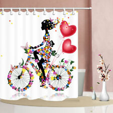 71''Polyester Fabric Waterproof Toilet Shower Curtain Cycling Girl With Flowers