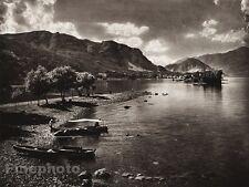 1925 Original ITALY Photo Gravure LAKE MAGGIORE Boat Shore Mountain ~ HIELSCHER