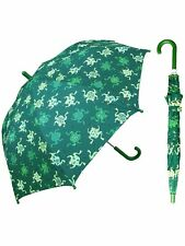 "Rainstoppers Unisex Kids Green Frog Print 32"" Arc Manual Open Umbrella"