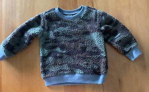 Carter's Kid Boy Camo Sherpa Pullover Sweatshirt Size 6 Green/Grey NWT