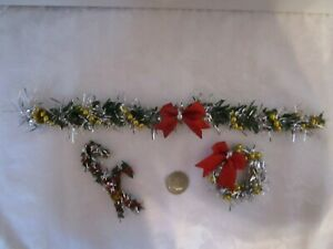 Dollhouse miniature Garland Sliver & Gold & Red Bow Candy cane Wreath + Wreath