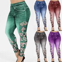 Womens' High Waist Pants Slimming Leggings Denim Look Casual Elastic Long Pants