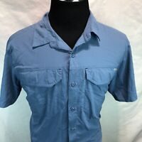 Columbia Button Up Short Sleeve Blue Outdoor Camp Shirt Mens Large RRR4