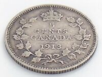1913 Canada Five 5 Cent Small Silver Circulated Canadian George V Coin J568