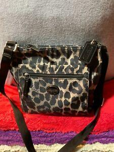 Coach Getaway Black & Grey Multi-Color Leopard Print Zip Shoulder Bag Crossbody