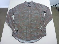 058 MENS EX-COND STUSSY CHOC WASHED OUT LOOK PAISLEY L/S SHIRT SZE MEDM $130 RRP