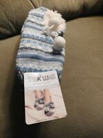 Muk Luks Women's Striped Ballerina Slipper Socks w/Pom Poms Size S/M (5-7)