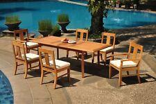 "7pc Grade-A Teak Dining Set 94"" Rectangle Table 6 Osborne Chair Outdoor Patio"