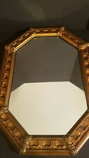 """Large Copper Clad Gold Painted Framed Mirror 29"""" X 21-1/2"""" Made In USA"""