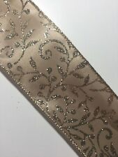 """Taupe Champagne w/Matching Metallic Leaves Wire Edged Ribbon 2-1/2"""" x 5 Yards"""