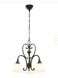 Hampton Bay Somerset 3 Light Chandelier Bronze finish frosted Glass Shades