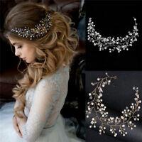 Fashion Crystal Headband tiara Bride Handmade Simulated Pearl Bride Wedding_ws