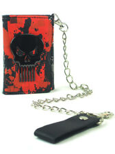 The Punisher Tri-Fold Chain Wallet Red Marvel Comics Heroes Novelty Skull New
