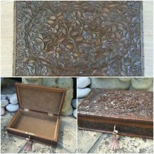 ANTIQUE JEWELLERY BOX - 19C HAND CARVED ANGLO INDIAN FAB INTERIOR