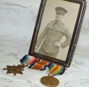 WW1 MEDAL GROUP OF 2 + SOLDIER PHOTO BORDER REGIMENT PTE J BUTLER 13091