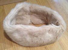 Cream White Faux Fur Head Band Ear Warmer Hat