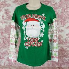 Rudolph Dear Santa Top T shirt Long Sleeve Jrs  Size L Large Green