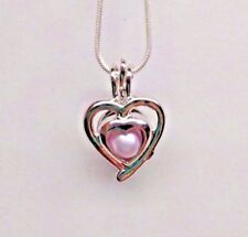 Make a Wish Pearl Cage Pendant Necklace - Double Hearts - 925 Chain+Pearl