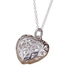Collana a forma di cuore cavo ciondolo a catena sottile-Argento K3Q9