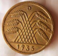 1935 D WEIMAR GERMANY 10 PFENNIG - AU - Great Coin - Free Ship - GERMAN BIN #8