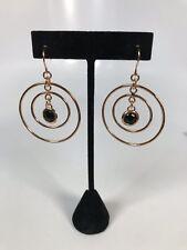 RARE QVC Rose Bronze Dangle Black Onyx Gemstone Concentric Circles Earrings