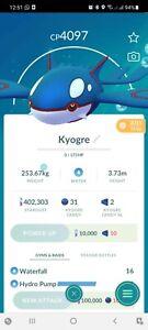Pokemon Legendary Go Kyogre Level 40 PVP Master League Same Day Trade Or 30 Day