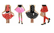 Girls Age 5-10 Years 1950s & 60s Style Polka Dot Grease Fancy Dress Skirt Pink