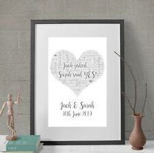 Personalised Love Heart Word Art Print Engagement Wedding Anniversary Gift