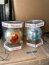Vtg lot of 2 Norman Rockwell Glass Christmas Ornament Dave Grossman
