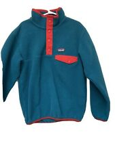 Patagonia Boy's Synchilla Snap T Fleece Teal And Red Size Small (7-8)