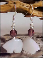 Snow Jade Zuni Bear w-Amethyst bead Southwestern Earrings #0308Z3