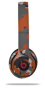 Skin Beats Solo 2 3 Old School Camouflage Orange Burnt Headphones NOT INCLUDED
