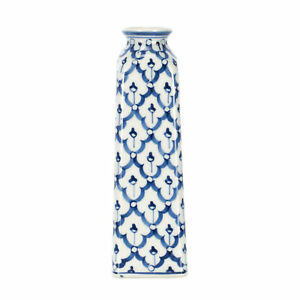 Sea Island Washington Monument Glossy Blue and White Porcelain Ceramic Vase