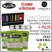 BREVILLE Espresso Coffee Machine Cleaning Tablets + Organic Descaler Cino Cleano