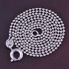 """Classic 9K White Gold Filled Beaded Womens Necklace 17.7"""",Z1312"""