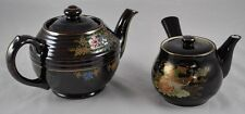 Lot of 2 Asian Hand Painted Tea Pots Teapots Flowers Peacock Brown Japan   DD3P4