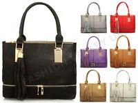 WOMENS ZIP BASE TOTE BAG DESIGNER INSPIRED TASSEL CELEBRITY SHOULDER HANDBAG