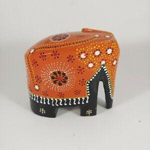 "HAND PAINTED Orange & Black Elephant Figurine - vtg 3"" Indian Wood Sculpture"