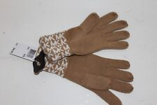 Michael Kors MK Logo Monogram Knit Gloves Camel Tan Off White MSRP $42 NEW