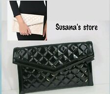 NWT bebe QUILTED PATENT CLUTCH Outfit-elevating clutch in a glossy quilted paten